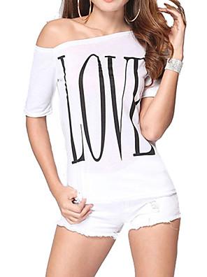 T-shirt Da donna Casual Semplice Estate,Con stampe Rotonda Cotone Beige Manica corta Sottile