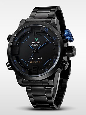 WEIDE® Men's Brand Luxury LED Double Time Black Stainless Steel Quartz Watch Cool Watch Unique Watch