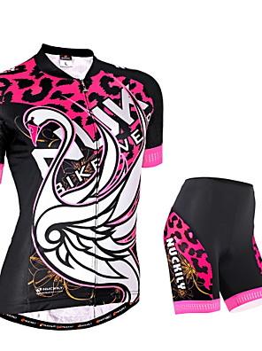 NUCKILY® חולצת ג'רסי ומכנס קצר לרכיבה לנשים שרוול קצר אופניים נושם / רצועות מחזירי אור / כיס אחורי מחממי זרוע / חולצה+שורטס / מדים בסטים