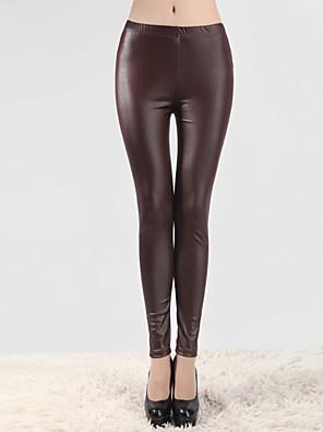 Ženy Polyester / Polyuretanová kůže / Spandex Tenké Polyuretan Legging