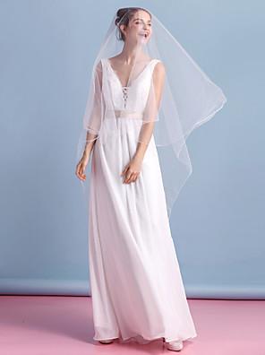 Sheath / Column Wedding Dress Ankle-length V-neck Chiffon with Lace