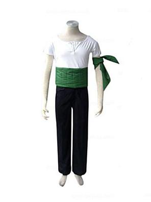קיבל השראה מ One Piece Roronoa Zoro אנימה תחפושות קוספליי חליפות קוספליי טלאים לבן / שחור / ירוק קצר חולצת טי / מכנסיים / שרוול / מחוך