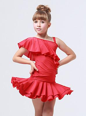בגדי ריקוד לילדים תלבושות בגדי ריקוד ילדים אימון ספנדקס / פוליאסטר Ruched / קפלים 2 חלקים בלי שרוולים עליון / חצאית