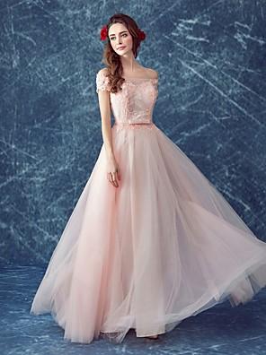 포멀 이브닝 드레스 A-라인 오프 더 숄더 바닥 길이 튤 와 비즈 / 레이스