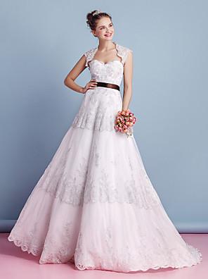 Lanting Bride A-line Wedding Dress-Sweep/Brush Train Sweetheart Lace