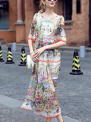 prázem női utcai elegáns nyomtatási swing ruha, kerek nyakú midi poliészter