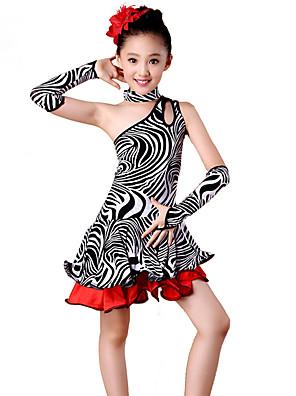 Latinské tance Šaty Dětské Výkon elastan / Polyester Zvířecí potisk 4 kusy Bez rukávů Vysoký Rukavice / Šaty / Neckwear