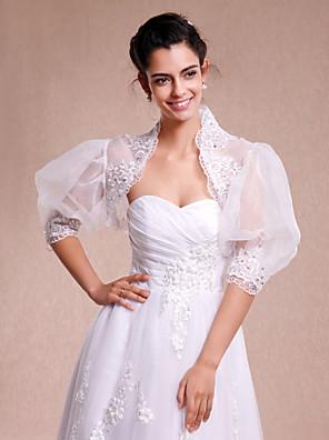 Wraps casamento Boleros 3/4 de Manga Renda / Organza Branco Casamento / Festa / Casual Renda Aberto à Frente