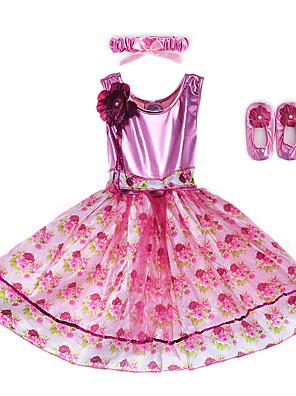 Fantasias Vestidos Crianças Actuação Elastano / Poliéster Flor(es) / Faixa/Tiras / Leopardo 2 Peças Sem Mangas Vestidos / Tiaras 60cm