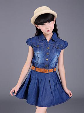 Dívka je Běžné/Denní Patchwork Celoročně Šaty / Džíny Bavlna / Polyester Modrá