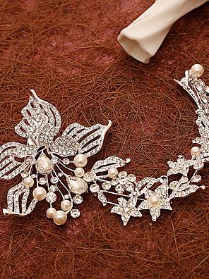 נשים פנינה / ריינסטון / סגסוגת כיסוי ראש-חתונה / אירוע מיוחד פרחים / קליפס לשיער חלק 1