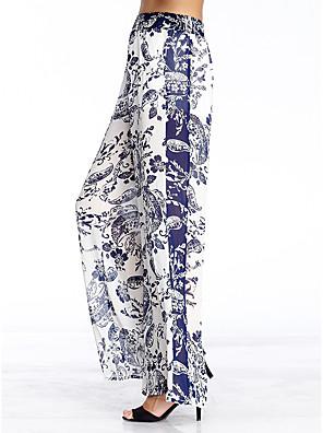 heartsoul kvinders blomstermotiver blå brede ben bukser, enkle