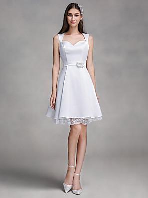 2017 Lanting bride® uma linha de vestido de casamento até o joelho querida cetim com laço