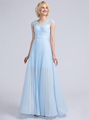 Lanting Bride® Longo Chiffon / Renda Vestido de Madrinha Tubinho Decote V com Pregueado / Renda
