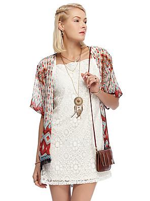 mulheres heartsoul de sair blazer verão vintage, gola redonda floral ½ comprimento da manga laranja poliéster fina