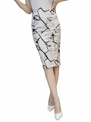 Kvinders Plusstørrelser Knælang Nederdele Mikroelastisk Bomuld