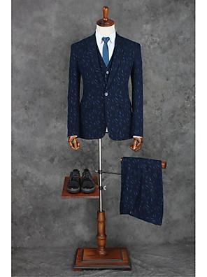 2017 obleky na míru fit vrcholové single prsy jedním tlačítkem polyesterové vzory 3 kusy námořnická modř rovně třepotal