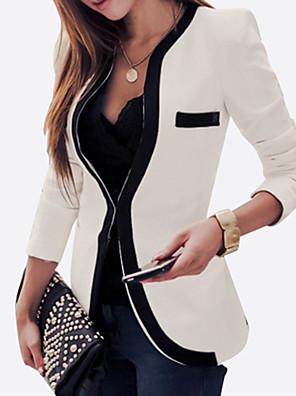 קולור בלוק מידות גדולות בלייזר נשים,כל העונות שרוול ארוך לבן / שחור בינוני (מדיום) חוטי זהורית / פוליאסטר