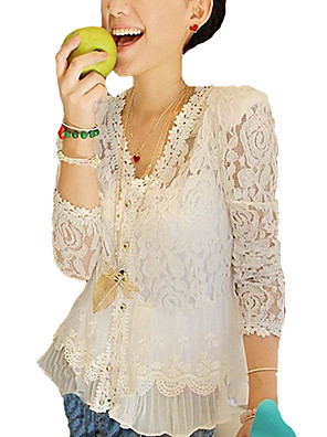 Women's Going out Sexy Spring / Summer / FallSolid V Neck Long Sleeve White Polyester Thin