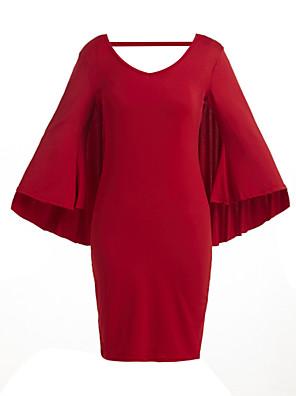 כל העונות פוליאסטר כחול / אדום / לבן / שחור אורך שרוול ¾ עד הברך צווארון V אחיד יום יומי\קז'ואל / מידות גדולות שמלה נשים,גיזרה בינונית