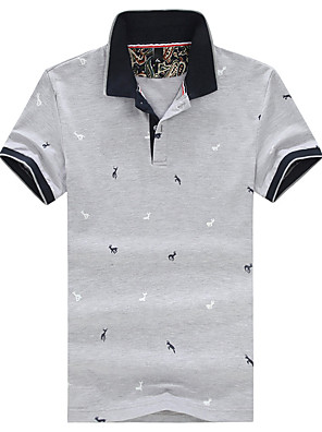Summer Men's Casual/Work/Daily/Plus Size Lapel Short Sleeve Print T-Shirt Blouse Tops
