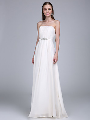Lanting Bride® עד הריצפה שיפון שמלה לשושבינה  מעטפת \ עמוד סטרפלס עם תד נשפך / סרט / סיכה מקריסטל
