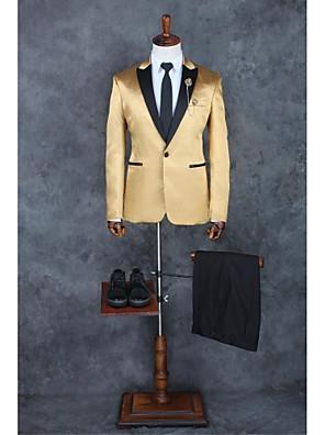 Obleky Na míru Špičaté Jednořadé s jedním knoflíkem Polyester Jednobarevné 2 ks Champagne Rovné vnitřní Žádný (rovné nohavice) Světle šedá