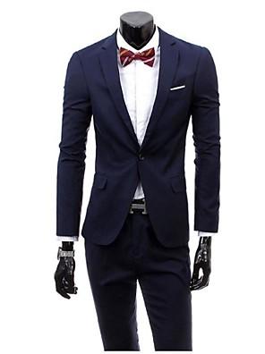 Suits Slim Notch/ Paletó Comum 1 Butão Viscose Cor Solida 2 Peças Preto / Roxo / Cinza Escuro / Bordô / Azul Oceano / Azul MarinhoLapela