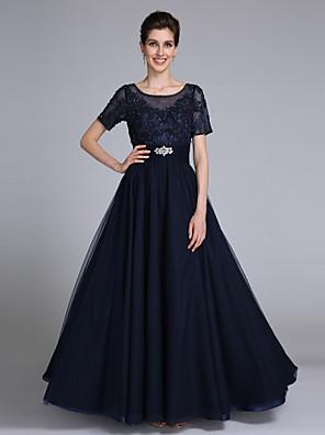 2017 לנטינג אמא נדן / טור bride® של שמלת כלה קצרה באורך הרצפה שרוול שיפון / תחרה עם אפליקציות
