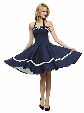 Women's Party/Cocktail Vintage A Line / Skater Dress,Striped Halter Knee-length Sleeveless Blue / Red / Black Cotton Summer Mid Rise
