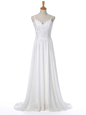 Tubinho Vestido de Noiva Cauda Escova Com Alças Finas Chiffon com Com Apliques