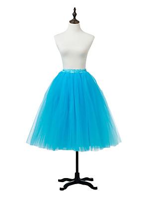 תחתונית  סליפ שמלת נשף באורך ברך 1 רשתות בד טול / אקרילי לבן / שחור / אדום / כחול / סגול / ורוד / אפור