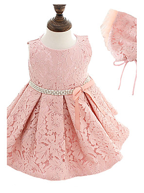 2pcs Baby Girl's White/Pink Dress, Bow Polyester All Seasons