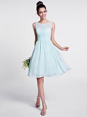 2017 לנטינג bride® שמלת השושבינה שיפון באורך הברך - א-קו לגרוף עם כורכת