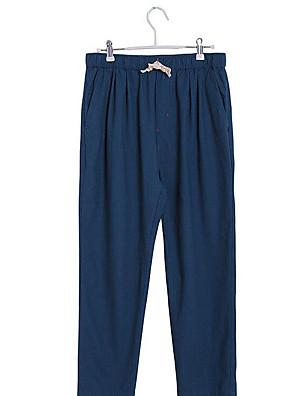Men's Solid Casual Sweatpants,Linen Black / Blue / Brown / Green / Red / Beige