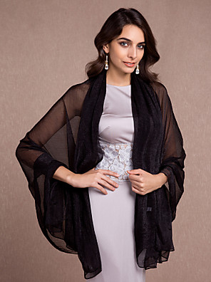 כיסויי גוף לנשים צעיפים בלי שרוולים זהורית שחור / שנהב / שמפניה / פוקסיה / ורוד סמוק / סגול חתונה / מסיבה / ערב / קז'ואל Off-the-shoulder