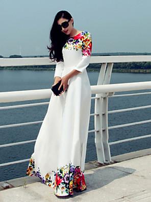 Mulheres Swing Vestido,Férias / Festa/Coquetel Simples Floral Decote Redondo Longo Manga ¾ Branco Poliéster Outono
