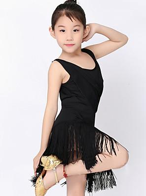 Dětské taneční kostýmy Šaty Dětské Výkon Polyester / Süt Filtresi Střapce Jeden díl Krátké rukávy Přírodní ŠatySuitable Height