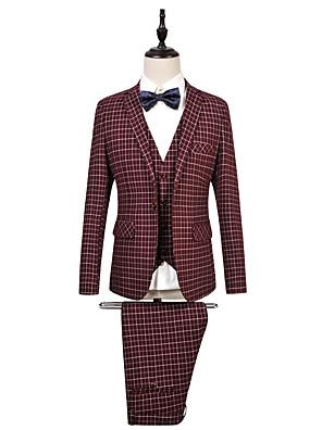 2017 חליפות מחויטות חריץ בכושר רכיסת פסי כותנה בלחיצת כפתור 3 חתיכות כחולות / ישר אדום התנופפו אף