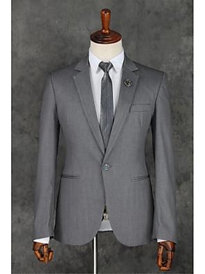 2017 ternos Slim Fit notch única breasted um botão de poliéster sólidas 2 peças cinza reta canalizado cinza