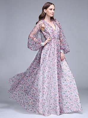 Lanting Bride® עד הריצפה טול שמלה לשושבינה - גזרת A צווארון וי עם תד נשפך