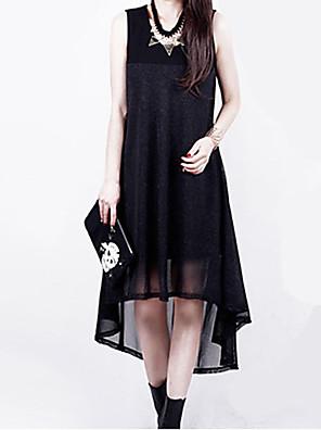 여성의 플러스 사이즈 / 섹시 플러스 사이즈 드레스 솔리드 / 패치 워크 비대칭 U 넥 쉬폰