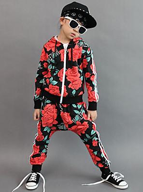 Girl's Cotton Spring/Autumn Fashion Floral Print Hip-hop Costume Long Sleeve Hoodie Coat And Hallen Pants Sport Suit