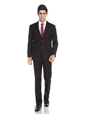 2017 smokingy na míru fit zářez jediný oblek dvě tlačítka viskóza / vlna& polyester smísí pevné 2ks černá