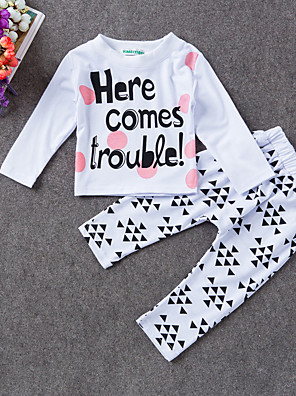 Baby Casual/Daily Print Clothing Set-Cotton-Summer / Spring-White