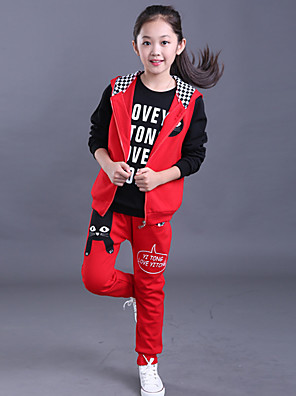 Girl's Cotton Spring/Autumn Foral Print Sport Suits Girls Children Clothing Three-piece Set