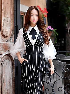 DABUWAWA Women's Going out / Casual / Work Cute / Sophisticated Shirt,Solid Shirt Collar Long Lantern Sleeve
