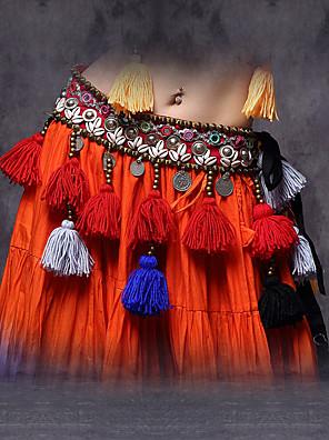 Dámské-Břišní tanec-Šátky na břišní tance(Červená,Bavlna / Polyester / Kov,Lemování / Mince / Střapce)