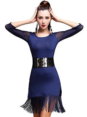 ריקוד לטיני שמלות בגדי ריקוד נשים אימון מילק פייבר גדיל (ים) חלק 1 אורך שרוול 3/4 גבוה שמלות M:78CM,L:79CM,XL:80CM,XXL:81CM,XXXL:82CM