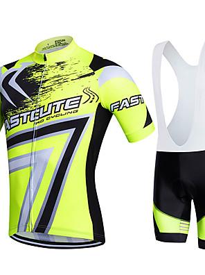 Fastcute® Camisa com Bermuda Bretelle Homens / Unissexo Manga Curta MotoRespirável / Secagem Rápida / Zíper Frontal / Vestível /